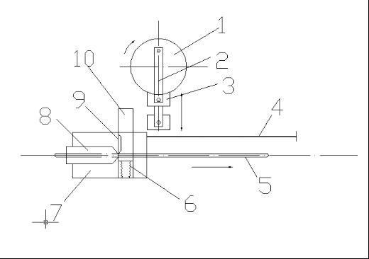 下切刀8固定在刀座台7上,调直后的钢筋从切刀中孔中通过。上切刀9安装在刀架10上,非工作状态时,上刀架被复位弹簧6推至上方,当定长拉杆4将刀台座7拉到锤头3下面时,上刀架受到锤头的冲击向上运动,钢筋在上、下刀片间被切断。在切断钢筋时,切刀有一个下降过程,下降时间一般为0.